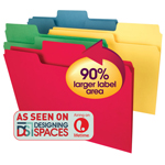 Smead SuperTab® Heavyweight File Folder 10410, Oversized 1/3-Cut Tab, Letter, Assorted Colors