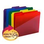 Smead Poly File Folder with Slash Pocket 10540, 1/3-Cut Tab, Letter, Assorted Colors