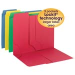 Smead 3-in-1 SuperTab® Section Folder 11905, 1/3-Cut Oversized Tab, Letter, Assorted Colors