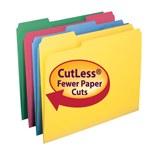 Smead CutLess® File Folder 11959, 1/3-Cut Tab, Letter, Assorted Colors