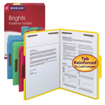 Colored Fastener Folders with Reinforced Tab