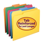 Smead File Folder 11993, Reinforced 1/3-Cut Tab, Letter, Assorted Colors