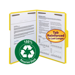 Smead 100% Recycled Fastener File Folder 12941, 2 Fasteners, Reinforced 1/3-Cut Tab, Letter, Yellow