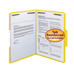 Smead WaterShed®/CutLess® Fastener File Folder 12942, 2 Fasteners, Reinforced 1/3--Cut Tab, Letter, Yellow