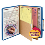 Smead Pressboard Classification File Folder with Pocket Divider and SafeSHIELD® Fasteners 14077, 2 Dividers, 2