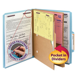 Smead Pressboard Classification File Folder with Pocket Divider and SafeSHIELD® Fasteners 14081, 2 Dividers, 2
