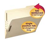 Smead Fastener File Folder 14538, 2 Fasteners, Reinforced 1/3-Cut Tab Right Position, Letter, Manila