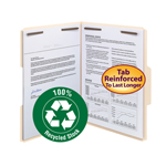 Smead 100% Recycled Fastener Folder 14547, 2 Fasteners, Reinforced 1/3-Cut Tab, Letter, Manila