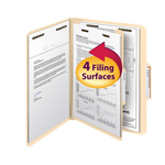 Smead Fastener Heavy-Duty File Folder with Divider 14560, 2 Fasteners, Reinforced 1/3-Cut Tab, Letter, Manila