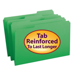 Smead File Folder 17134, Reinforced 1/3-Cut Tab, Legal, Green