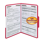 Smead Fastener File Folder 17740, 2 Fasteners, Reinforced 1/3-Cut Tab, Legal, Red