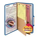 Smead Pressboard Classification File Folder with Pocket Divider and SafeSHIELD® Fasteners 19077, 2 Dividers, 2