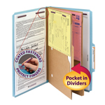 Smead Pressboard Classification File Folder with Pocket Divider and SafeSHIELD® Fasteners 19081, 2 Dividers, 2