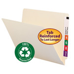 Smead 100% Recycled End Tab File Folder 24160, Shelf-Master® Reinforced Straight-Cut Tab, Letter, Manila