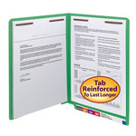 Smead WaterShed®/CutLess® End Tab Fastener Folder 25150, Reinforced Straight-Cut Tab, Two Fasteners, Letter, Green