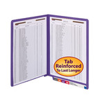 Smead WaterShed®/CutLess® End Tab Fastener Folder 25550, Reinforced Straight-Cut Tab, Two Fasteners, Letter, Purple
