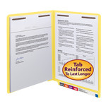Smead WaterShed®/CutLess® End Tab Fastener Folder 25950, Reinforced Straight-Cut Tab, Two Fasteners, Letter, Yellow