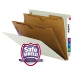 Smead End Tab Classification File Folder with SafeSHIELD® Fasteners 26710, 2 Pocket-Style Dividers, Letter, Gray/Green
