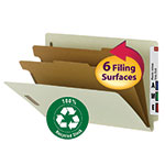 Smead 100% Recycled End Tab Classification Folder 29802, 2 Dividers, 2