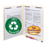 Smead 100% Recycled End Tab  Fastener Folder 34160, Shelf-Master® Reinforced Straight-Cut Tab, 2 Fasteners, Letter, Manila