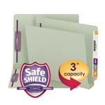 Smead End Tab Pressboard Fastener File Folder with SafeSHIELD® Fastener 34725, 2 Fasteners, 3