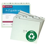 Smead Pressboard Guides 50376, Plain 1/5 Cut-Tab (A-Z), Set of 25, Letter, Gray/Green