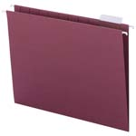 Smead Hanging File Folder with Tab 64073, 1/5-Cut Adjustable Tab, Letter, Maroon