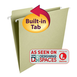 Smead FasTab® Hanging Folder 64082, 1/3-Cut Built-In Tab, Letter, Moss