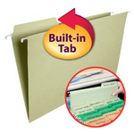 Smead FasTab® Hanging Folder 64083, 1/3-Cut Built-In Tab, Legal, Moss