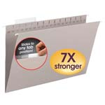 Smead TUFF® Hanging Folder with Easy Slide™ Tab 64093, 1/3-Cut Sliding Tab, Legal, Steel Gray