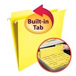 Smead FasTab® Hanging Folder 64097, 1/3-Cut Built-In Tab, Letter, Yellow