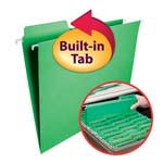 Smead FasTab® Hanging Folder 64098, 1/3-Cut Built-In Tab, Letter, Green