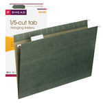 Smead Hanging File Folder with Tab 64155, 1/5-Cut Adjustable Tab, Legal, Standard Green