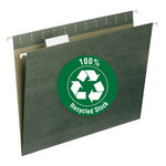 Smead 100% Recycled Hanging File Folder with Tab 65001, 1/5-Cut Adjustable Tab, Letter, Standard Green