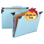 Smead  FasTab® Hanging Pressboard Classification Folder with SafeSHIELD® Fastener, 1 Divider, 2/5-Cut Built-in Tab, Blue (65105)