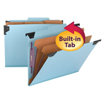 Smead  FasTab® Hanging Pressboard Classification Folder with SafeSHIELD® Fastener, 2 Dividers,  2/5-Cut Built-in Tab, Blue (65115)