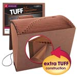 Smead TUFF® Expanding File 70318, Alphabetic (A-Z), 21 Pockets, Flap and Elastic Cord Closure, Letter, Redrope-Printed Stock