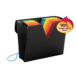 Smead ColorVue Expanding File with SuperTab® 70722, Blank Oversized Tabs, 13 Pockets, Flap and Elastic Cord Closure, Letter, Black