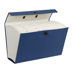Smead Portable Expanding File Box 70806, 19 Pockets, Alphabetic (A-Z) and Subject Labels, Legal, Blue