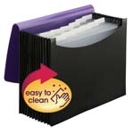 Smead Poly Expanding File 70862, 12 Pockets, Flap and Cord Closure, Letter Size, Wave Pattern Purple/Black