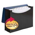 Smead Poly Expanding File 70863, 12 Pockets, Flap and Cord Closure, Letter, Wave Pattern Blue/Black