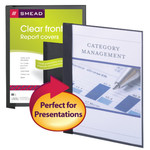 Clear Front Report Covers in Linen Stock, Black