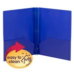 Smead Poly Two-Pocket Folder 87726, Tang-style Fastener, Holds up to 180 Sheets, Letter, Dark Blu