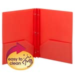 Smead Poly Two-Pocket Folder 87727, Tang-style Fastener, Holds up to 180 Sheets, Letter, Red
