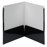 Smead High Gloss Two-Pocket File Folder 87874, Up to 50 Sheets, Letter, Black