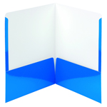 Smead High Gloss Two-Pocket File Folder 87875, Up to 50 Sheets, Letter, Blue