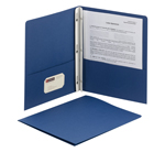 Smead Two-Pocket Heavyweight Folder 88054, Tang Strip Style Fastener, Fastener-Up to 80 Sheets/Pockets-Up to 100 Sheets, Letter, Dark Blue